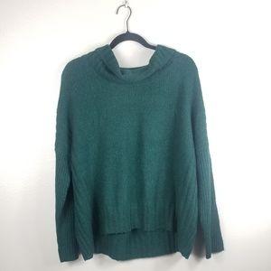 Eileen Fisher Green Wool Blend Cowl Neck Sweater
